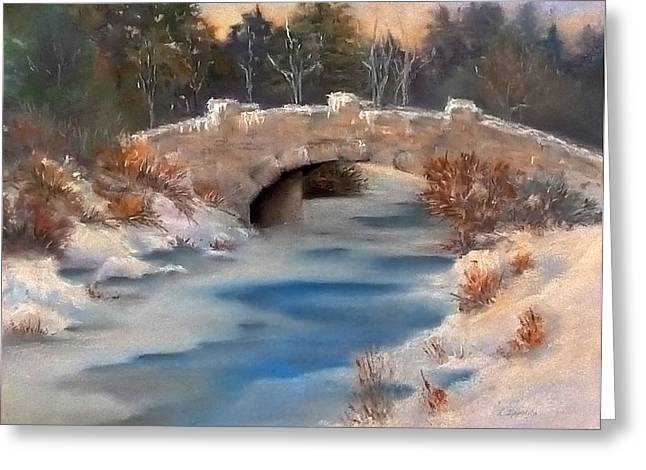 Winter Park Pastels Greeting Cards - Snowy Bridge Greeting Card by Lori Ippolito