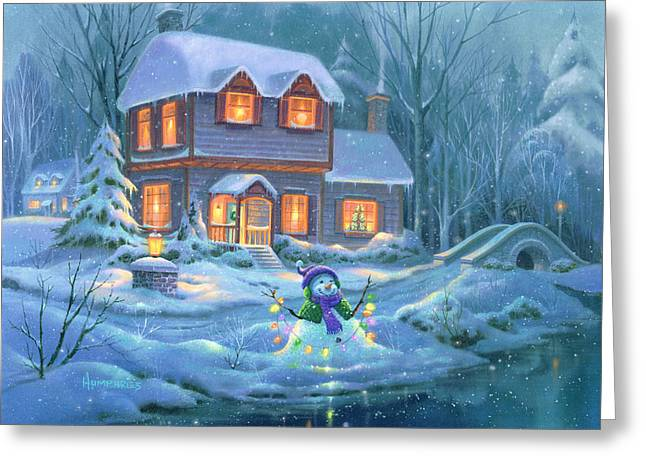 Christmas Lights Greeting Cards - Snowy Bright Night Greeting Card by Michael Humphries