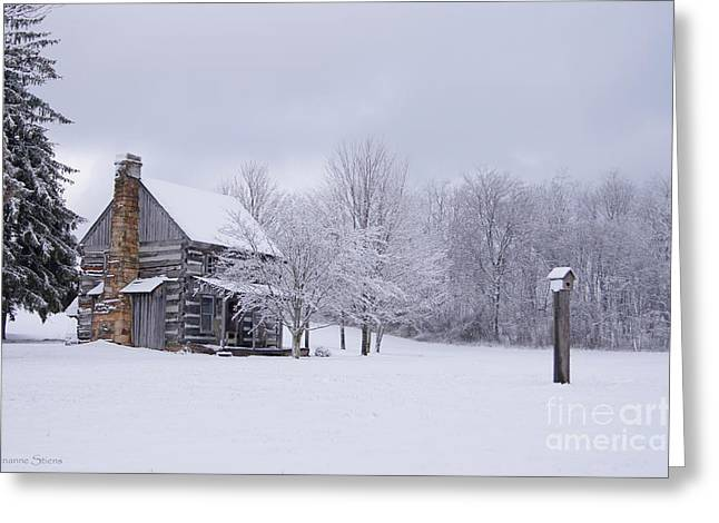 Snow Scenes Greeting Cards - Snowy Cabin Greeting Card by Benanne Stiens