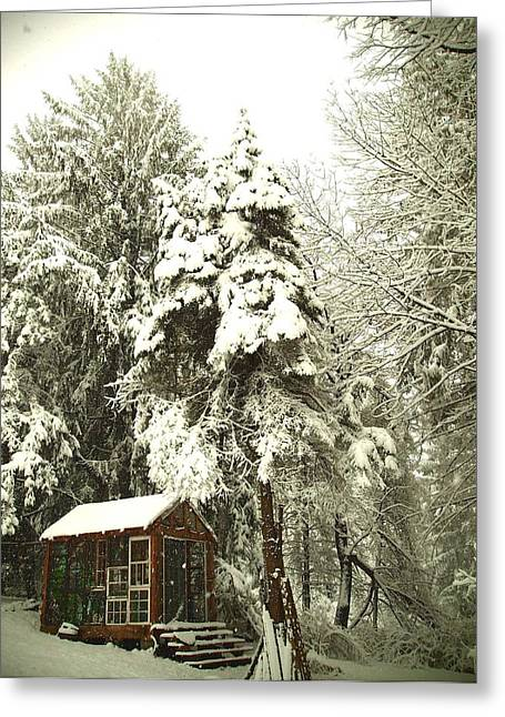 Old Cabins Glass Greeting Cards - Snowy Cabin Greeting Card by Neile Cooper