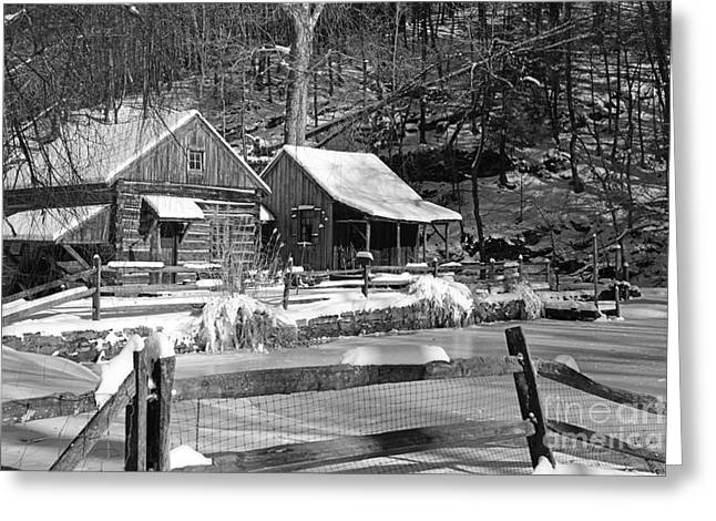 Snow Scene Landscape Greeting Cards - Snowy Cabins in Black and White Greeting Card by Paul Ward