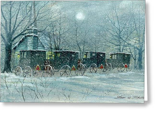 Award Winning Art Greeting Cards - Snowy Carriages Greeting Card by Steven Schultz