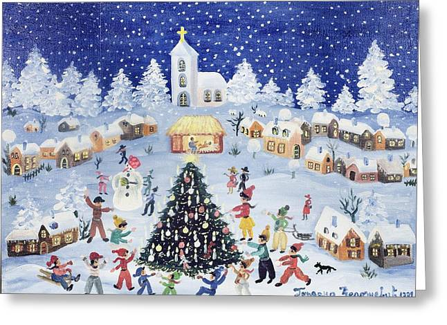 Sledge Greeting Cards - Snowy Christmas in a Village Square Greeting Card by Gordana Delosevic