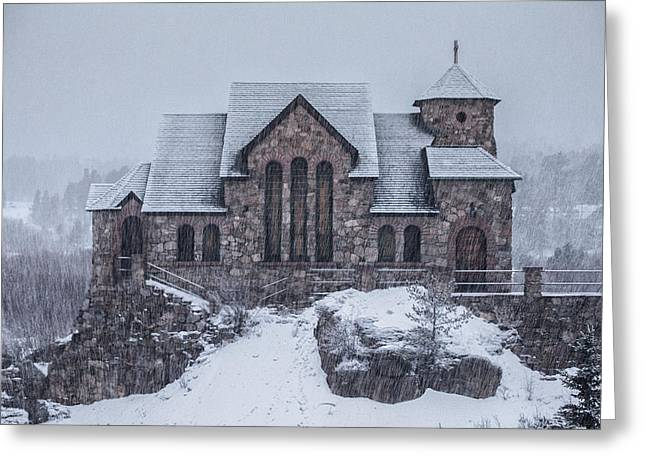 Winter Scene Photographs Greeting Cards - Snowy Church Greeting Card by Darren  White