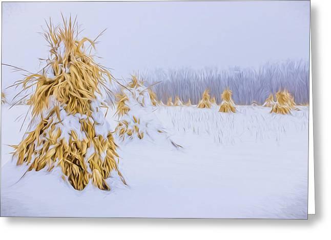 Amish Greeting Cards - Snowy Corn Shocks - Artistic Greeting Card by Chris Bordeleau