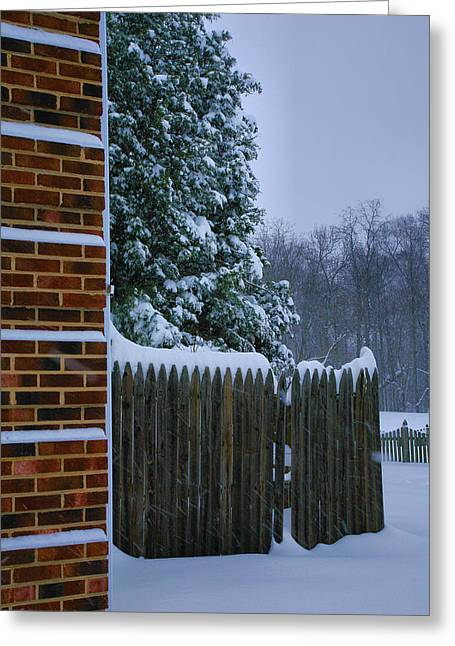 Framed Winter Snow Photograph Greeting Cards - Snowy Corner Greeting Card by Steven Ainsworth