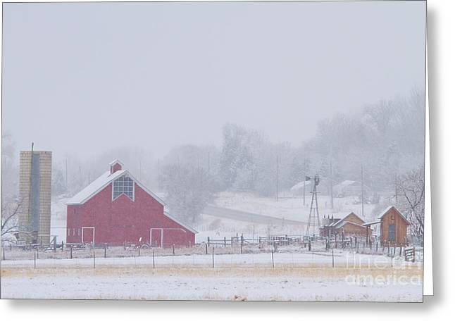 Lohr-mcintosh Farm Greeting Cards - Snowy Country Winter Day Greeting Card by James BO  Insogna