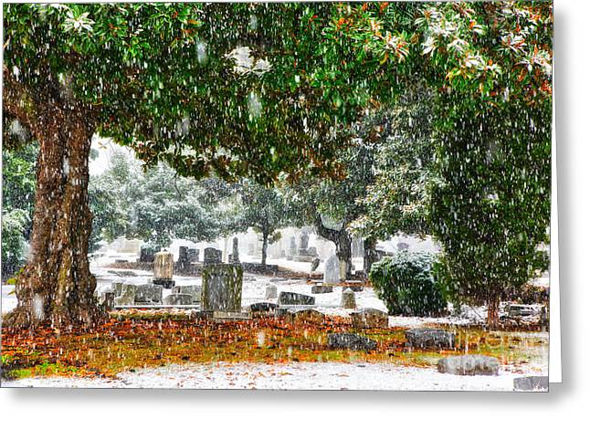 Commercial Photography Paintings Greeting Cards - Snowy Day at the cemetery - Greensboro North Carolina Greeting Card by Dan Carmichael