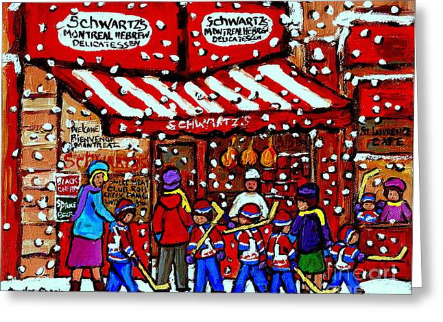 A Montreal Tradition Greeting Cards - Snowy Day Montreal Paintings Schwarts Deli Smoked Meat After The Hockey Game Carole Spandau Art Greeting Card by Carole Spandau