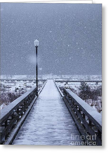 Snowstorm Greeting Cards - Snowy Day on the Boardwalk Greeting Card by Stanza Widen