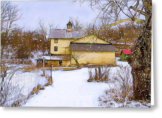 Old Fence Posts Digital Greeting Cards - Snowy day on the farm Greeting Card by Dave Sandt