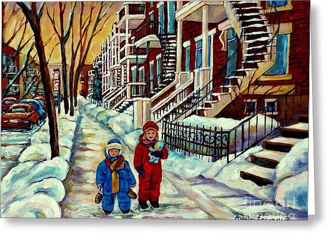 The Plateaus Paintings Greeting Cards - Snowy Day Rue Fabre Le Plateau Montreal Art Winter City Scenes Paintings Carole Spandau Greeting Card by Carole Spandau