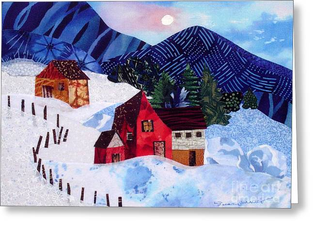 Wintry Mixed Media Greeting Cards - Snowy Day Greeting Card by Susan Minier