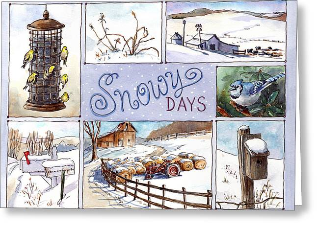 Winter Scenes Rural Scenes Greeting Cards - Snowy Days Greeting Card by Leslie Fehling