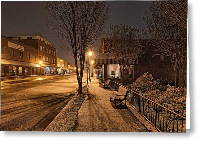 Downtown Franklin Greeting Cards - Snowy Delight in the Main Street Lights 02 Greeting Card by Eric Haggart