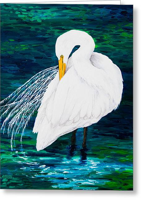 Water Themed Paintings Greeting Cards - Snowy Egret Greeting Card by Alexandra Nicole Newton