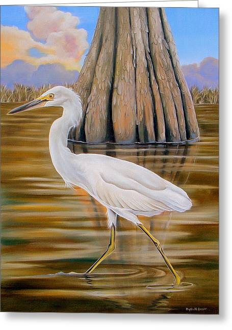 Phyllis Beiser Greeting Cards - Snowy Egret and Cypress Tree Greeting Card by Phyllis Beiser