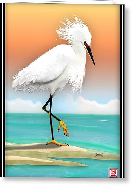 On The Beach Digital Greeting Cards - Snowy Egret White Heron On Beach Greeting Card by John Wills