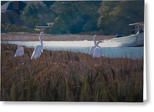 Waterway Birds Greeting Cards - Snowy Egrets ICW Greeting Card by Christopher Reid
