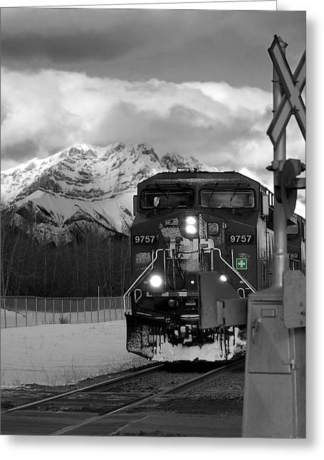 Selective Colouring Greeting Cards - Snowy Engine Through the Rockies Greeting Card by Lisa Knechtel