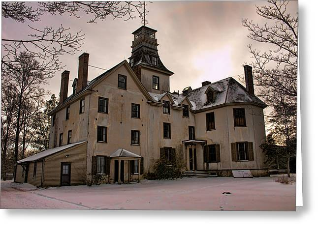 Historic Snowy Mansion Greeting Cards - Snowy Evening at Batsto Mansion Greeting Card by Kristia Adams