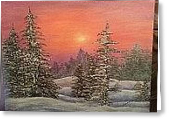 Snowy Evening Mixed Media Greeting Cards - Snowy Evening Goodbye Greeting Card by Bonnie Steward