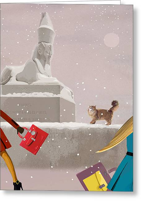 Evening Handbag Greeting Cards - Snowy evening in the city Greeting Card by Victoria Fomina