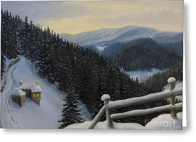 Bulgaria Paintings Greeting Cards - Snowy Fairytale Greeting Card by Kiril Stanchev