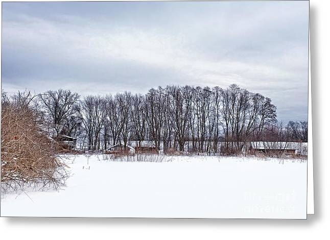 Wintery Barn Greeting Cards - Snowy Farm Greeting Card by HD Connelly