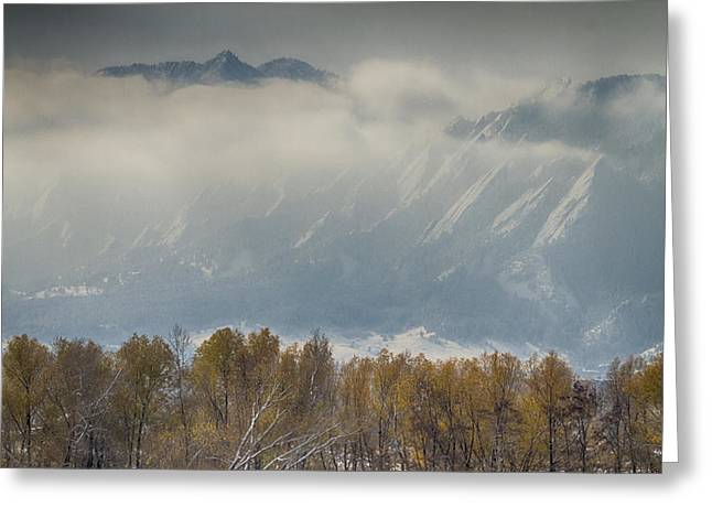 Snowy Day Greeting Cards - Snowy Flatiron View Boulder Colorado Greeting Card by James BO  Insogna