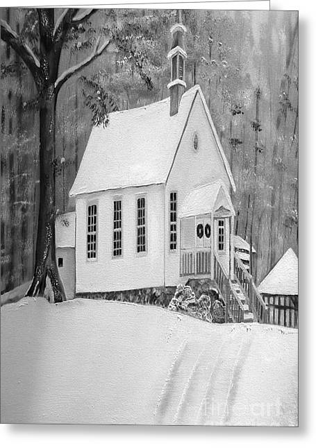Vale Greeting Cards - Snowy Gates Chapel -White Church - Portrait view Greeting Card by Jan Dappen
