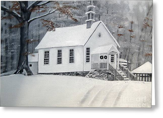 Snow-covered Landscape Greeting Cards - Snowy Gates Chapel  -Little White Church - Ellijay Greeting Card by Jan Dappen