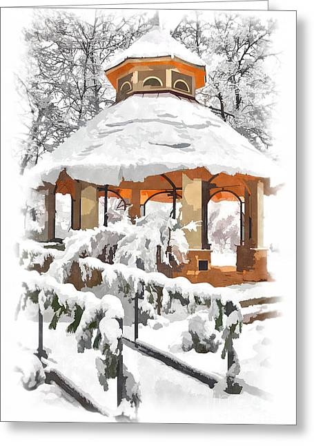 City Scapes Framed Prints Greeting Cards - Snowy Gazebo - Greensboro North Carolina II Greeting Card by Dan Carmichael