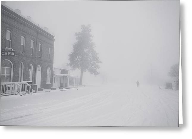 Visitors Greeting Cards - Snowy Ghost Town Greeting Card by Darren  White