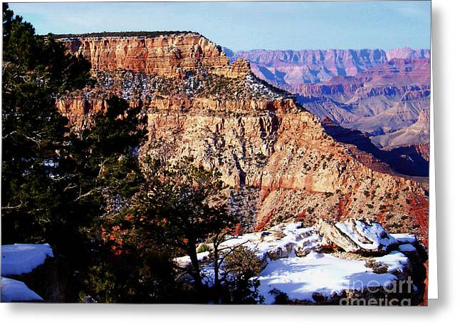 Burned Clay Greeting Cards - Snowy Grand Canyon Vista Greeting Card by Janice Sakry