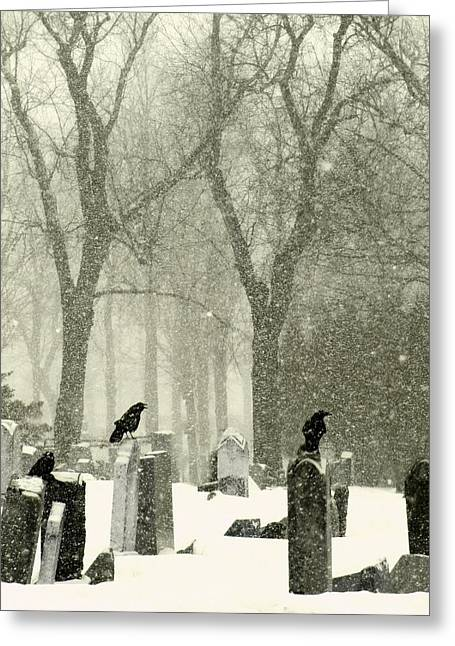 Birds In Graveyard Greeting Cards - Snowy Graveyard Crows Greeting Card by Gothicolors Donna Snyder