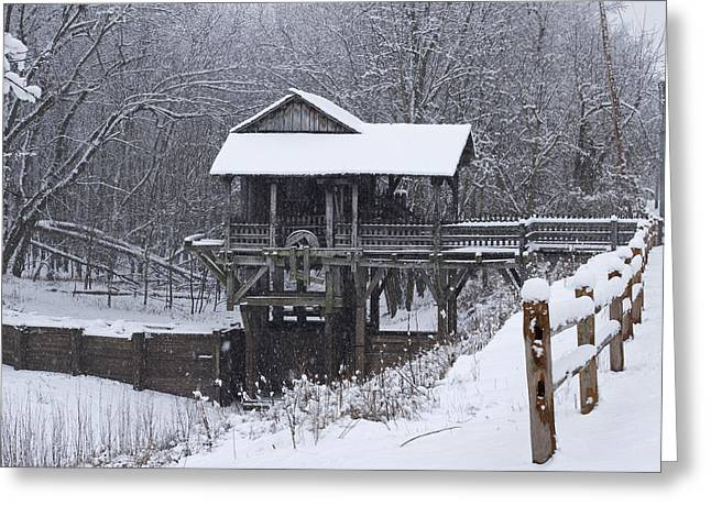 Menard Greeting Cards - New Salem Grist Mill in the Snow clr Greeting Card by Eric Mace