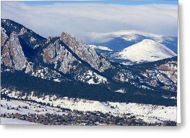 University Of Boulder Colorado Greeting Cards - Snowy Hills of Boulder Greeting Card by Steve Krull