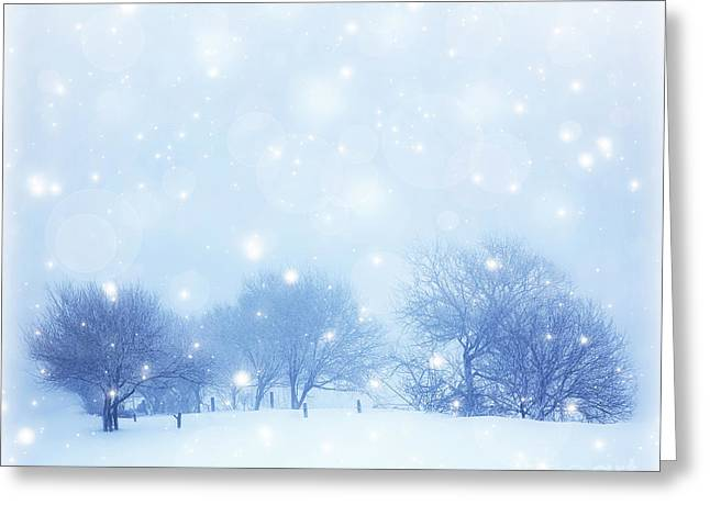 Snowy Day Greeting Cards - Snowy landscape Greeting Card by Anna Omelchenko