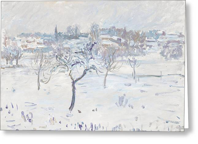 Winter Trees Greeting Cards - Snowy Landscape At Eragny With An Apple Greeting Card by Camille Pissarro