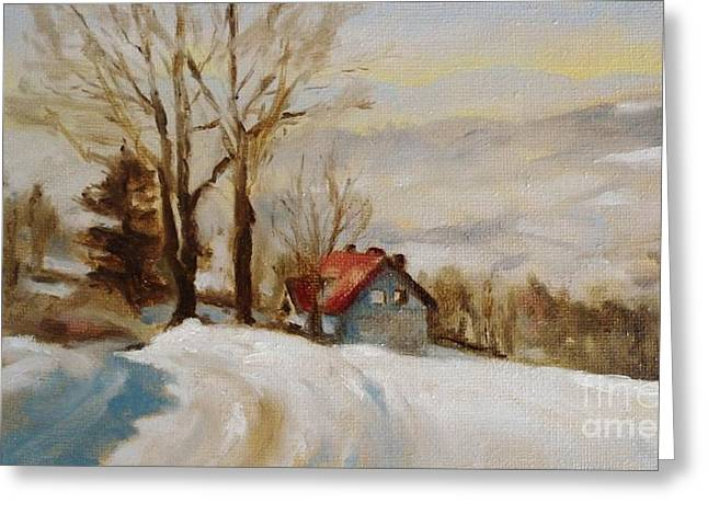 Haus Paintings Greeting Cards - Snowy Landscape in Poland Greeting Card by Karina Plachetka