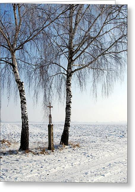 Snowwhite Greeting Cards - Snowy Landscape With Birches And Wayside Cross Greeting Card by Karin Stein