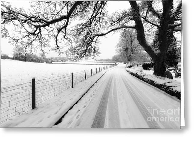 Snow Tree Prints Digital Greeting Cards - Snowy Lane Greeting Card by Adrian Evans