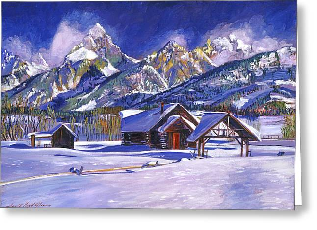 Nature Scene Paintings Greeting Cards - Snowy Log Cabin Greeting Card by David Lloyd Glover