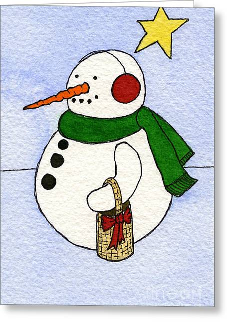 Appleton Art Greeting Cards - Snowy Man Greeting Card by Norma Appleton