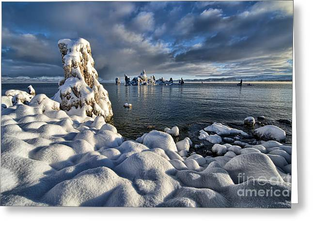 Bishops Peak Greeting Cards - Snowy Mono Lake Greeting Card by Peter Dang