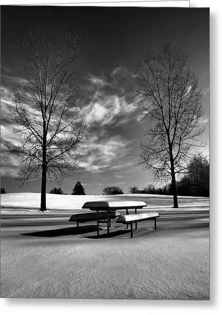 Snowstorm Greeting Cards - Snowy Morning In Black And White Greeting Card by Dan Sproul