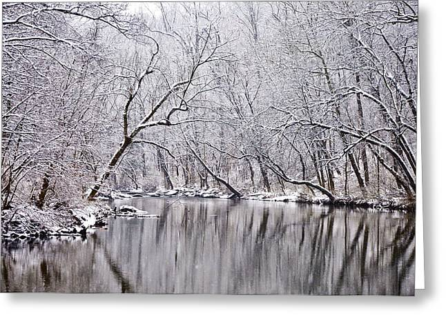 Phila Greeting Cards - Snowy Morning on Wissahickon Creek Greeting Card by Bill Cannon