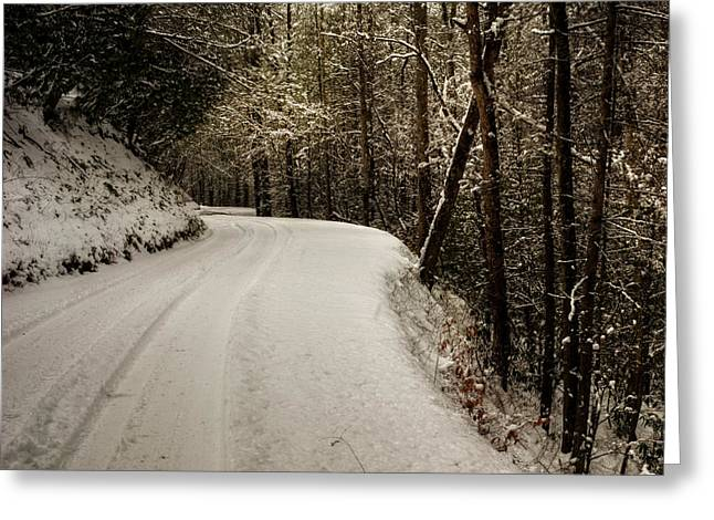 Mountain Road Greeting Cards - Snowy Mountain Road Square Greeting Card by Chrystal Mimbs