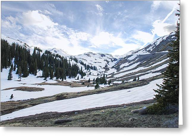 Snowy Mountain Loop Greeting Cards - Snowy Mountain View Greeting Card by Nicholas Harte